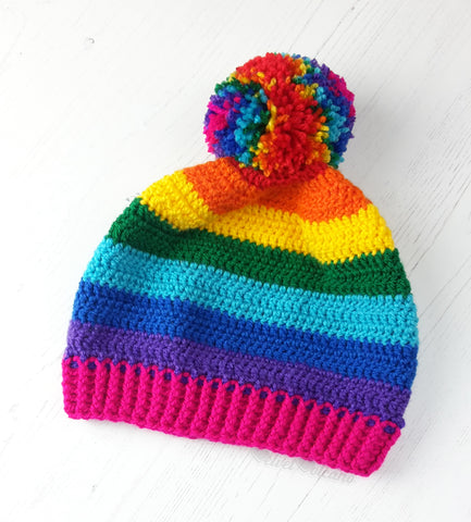 Rainbow Striped Pom Pom Beanie