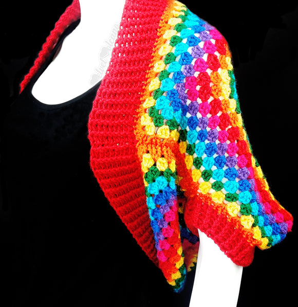 Brightly Coloured Granny Square Crochet Shrug - Womens Rainbow Cardigan handmade from Acrylic Yarn