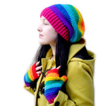 Slouchy Rainbow Striped Beanie by VelvetVolcano - 2