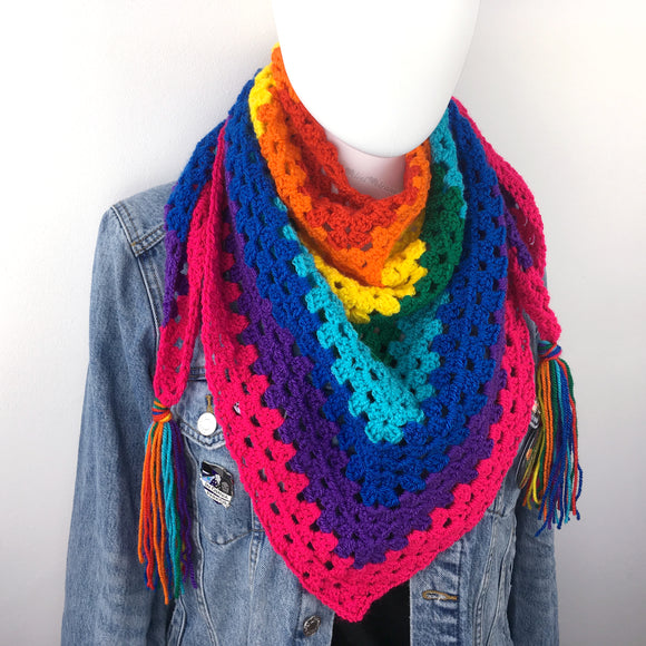 Rainbow Stripe Crochet Shawl Scarf by VelvetVolcano
