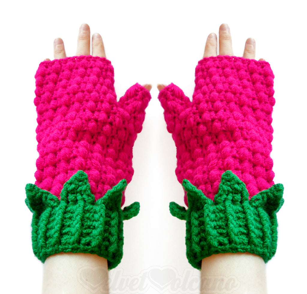 Raspberry Fingerless Gloves