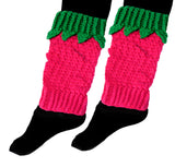 Crochet Raspberry Leg Warmers in Cerise and Emerald Green Acrylic Yarn with Bobble and Leaf Detail by VelvetVolcano