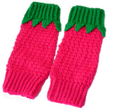 Raspberry Leg Warmers - Crochet Raspberry Inspired Leg Warmers with Cosy Bobble and Cute Leaf Detail by VelvetVolcano