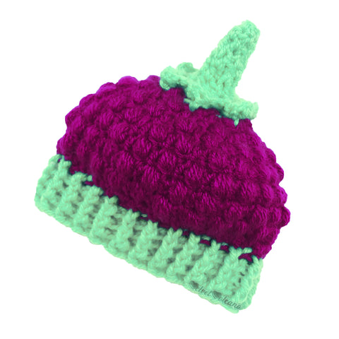 Raspberry Crochet Baby Beanie by VelvetVolcano - Raspberry (Dark Pink) & Spearmint (Pastel Green) Acrylic Kids Berry Hat