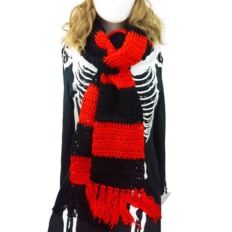 Chunky Crochet Red & Black Striped Long Tassel Scarf by VelvetVolcano