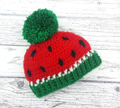 Rose Red, Emerald Green, White and Black Babies Watermelon Bobble Hat