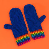 Royal Blue Crochet Mittens with Rainbow Striped Cuff by VelvetVolcano