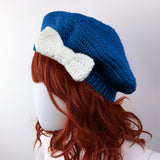 Royal Blue & White Bow Beret - Custom Colour Vintage Inspired Crochet Hat by VelvetVolcano