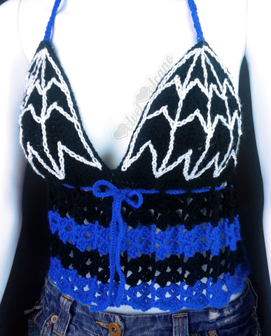 Black, Royal Blue and White Spider Web Halter Neck Crochet Top - Custom Colour Goth Summer Top