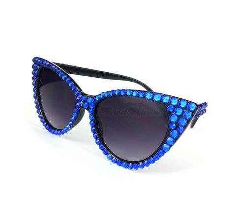 ELECTRIC Sparkly Royal Blue & Black Cat Eye Sunglasses - Black Cat Eye Sunglasses encrusted with Bright Blue Rhinestones by VelvetVolcano