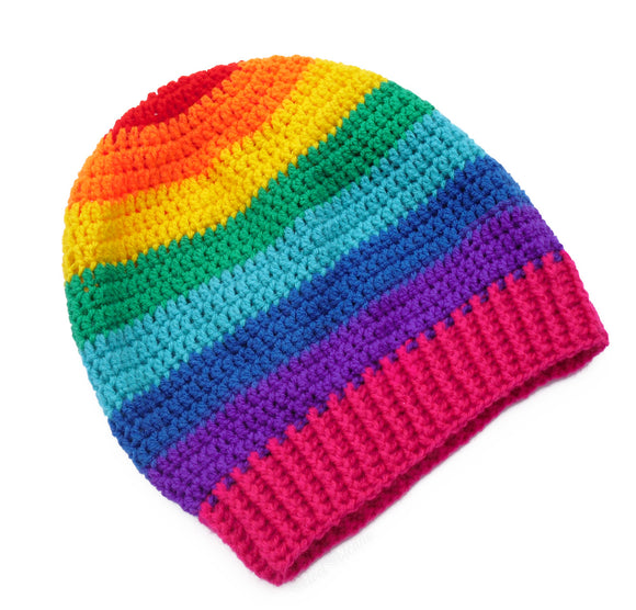 Slouchy Rainbow Striped Beanie by VelvetVolcano - 1