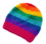 Slouchy Rainbow Striped Beanie by VelvetVolcano - 3