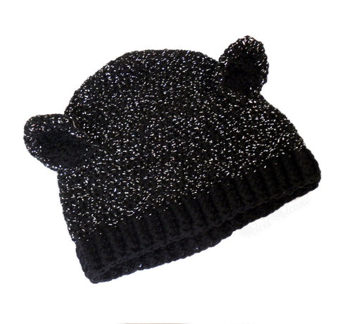 Black Sparkle-Kitty Beanie by VelvetVolcano