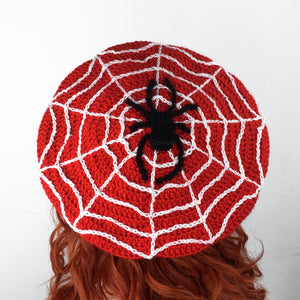 Spider Web Beret - Custom Colour Crochet Cobweb Hat by VelvetVolcano