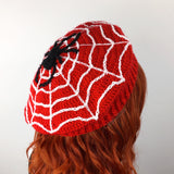 Spider Web Beret - Red, Black & White Crochet Cobweb Hat by VelvetVolcano