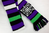 Custom Chunky Crochet Striped Long Scarf with Tassels and Spider Web Design