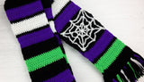 Neon Green, Violet Purple, Black and White Spooky Striped Cobweb Scarf