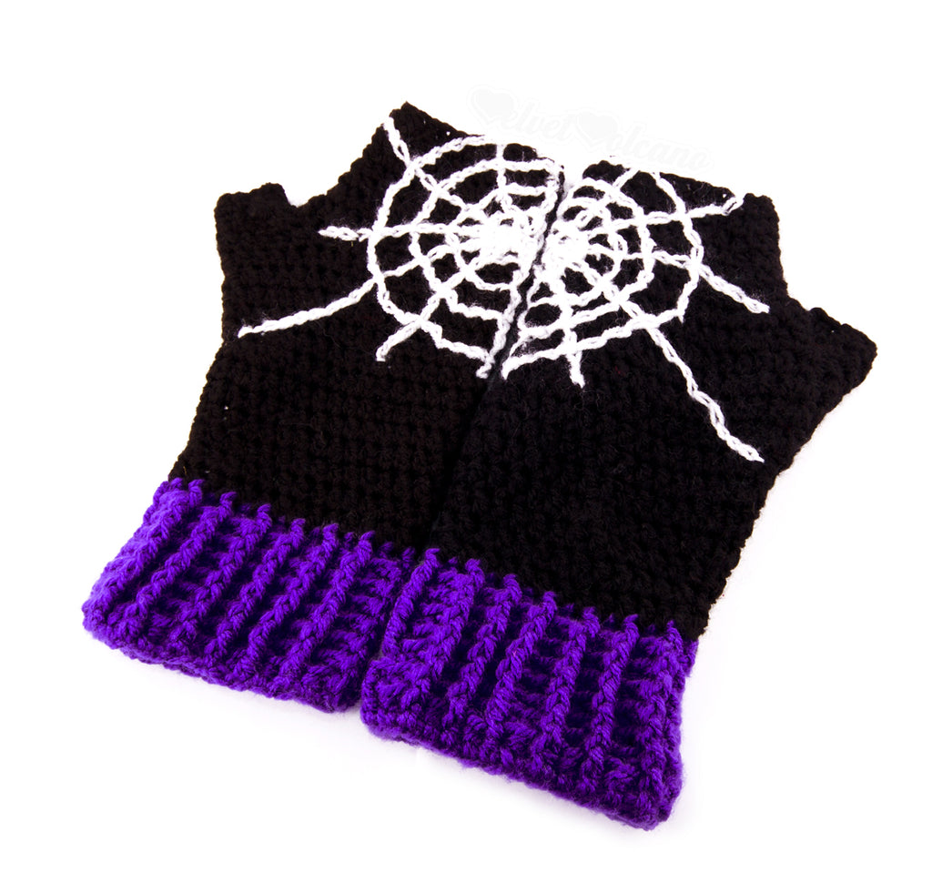 Spider Web Fingerless Gloves by VelvetVolcano - 1