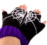 Spider Web Fingerless Gloves by VelvetVolcano - 3