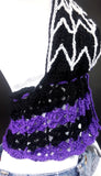 Black, Violet (Dark Purple) and White Spider Web Halter Neck Crochet Top - Custom Colour Goth Summer Top