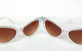 VelvetVolcano 'STARLET' and 'DIAMOND' White Cat Eye Sunglasses encrusted with sparkly Silver rhinestones