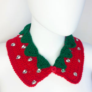 Strawberry Collar - Detachable Cute & Sparkly Crochet Peter Pan Collar with Leaves and Rhinestone Seeds
