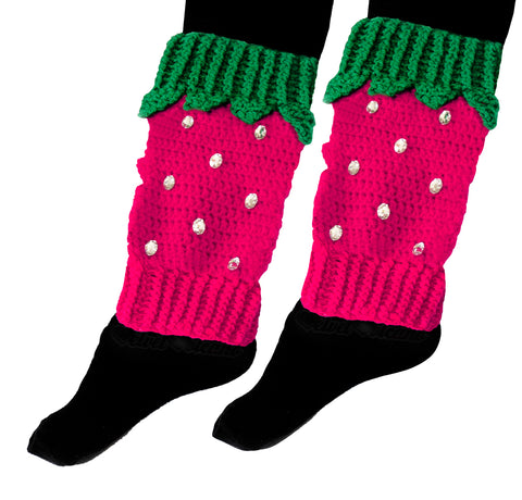 Cerise Pink & Emerald Green Strawberry Leg Warmers with Cute Leaf Detail and Sparkly Rhinestone Seeds by VelvetVolcano