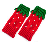 Red Strawberry Leg Warmers with Leaves and Rhinestone Seeds by VelvetVolcano