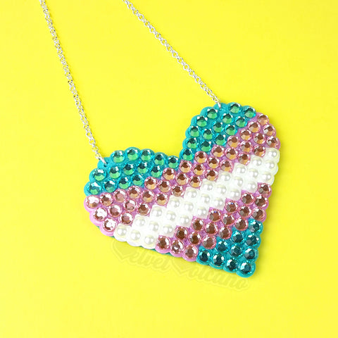READY TO SHIP Transgender Pride Love-Heart Necklace