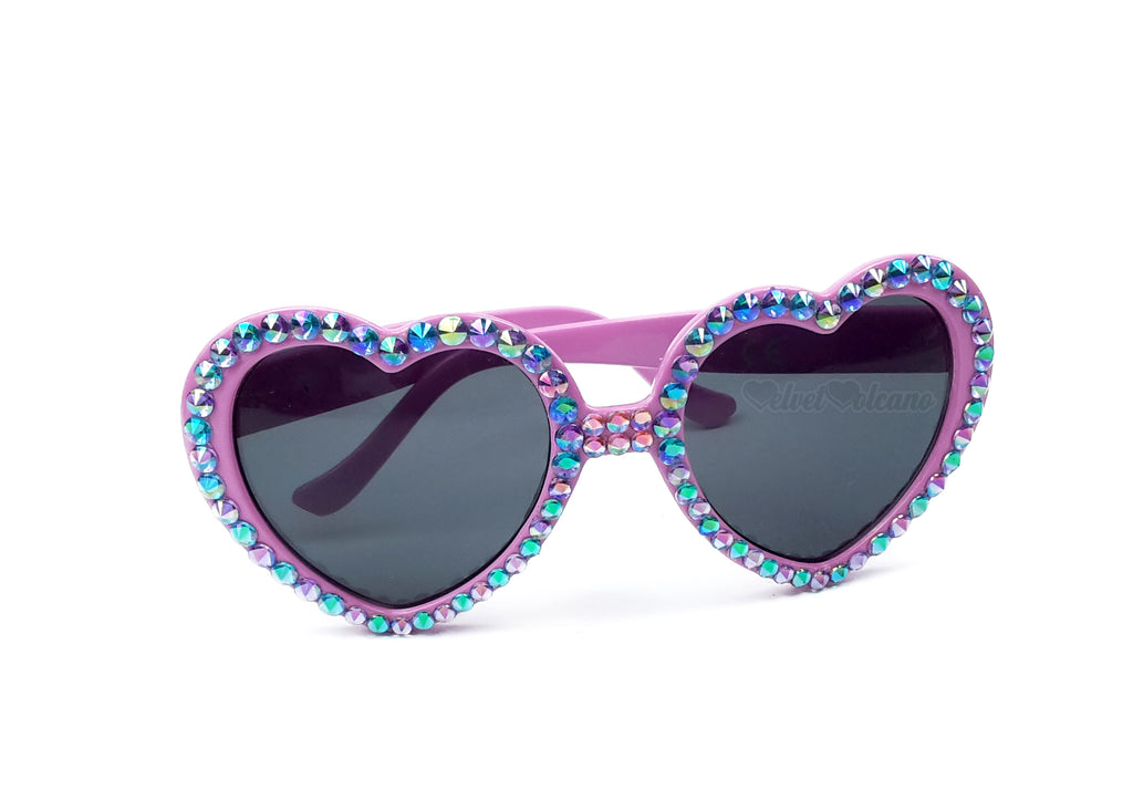 UNICORN Pink, Turquoise & Lilac Heart Shaped Sunglasses