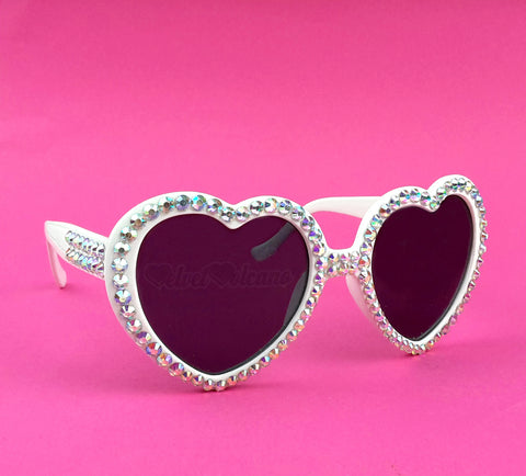 'UTOPIA' White Heart Shaped Sunglasses