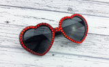 Black Heart Shaped Sunglasses encrusted with Red Rhinestones