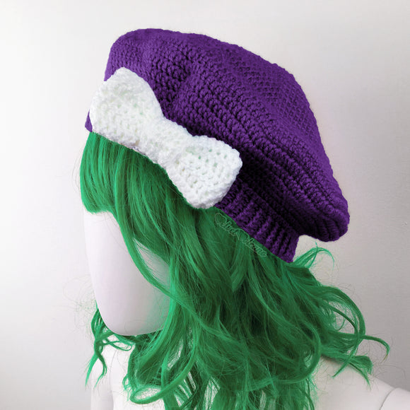 Purple & White Bow Beret - Custom Colour Vintage Inspired Crochet Hat by VelvetVolcano