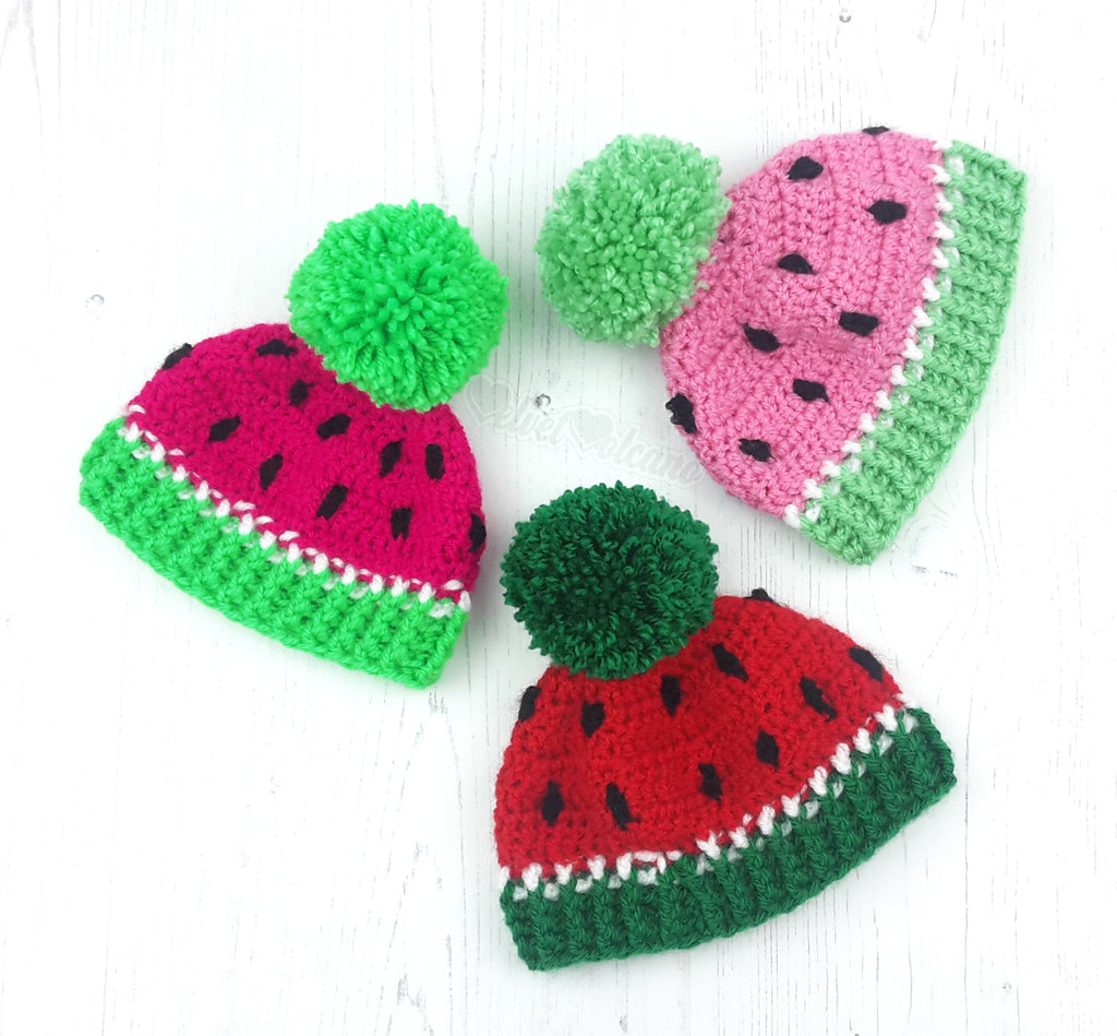 Watermelon Pom Pom Beanie Hats for Babies and Children in Neon Pink & Neon Green, Red & Emerald and Bubblegum Pink & Spearmint (Pastel Green)