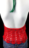 Red, White and Emerald Green Crochet Watermelon Design Halter Top - Vegan Fruit Themed Summer Clothing