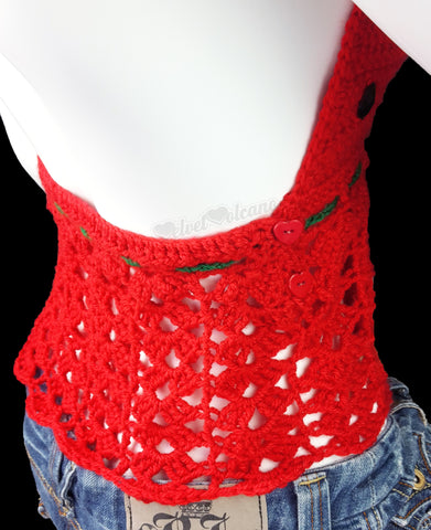 Red & Emerald Watermelon Halter Neck Top - Size Small