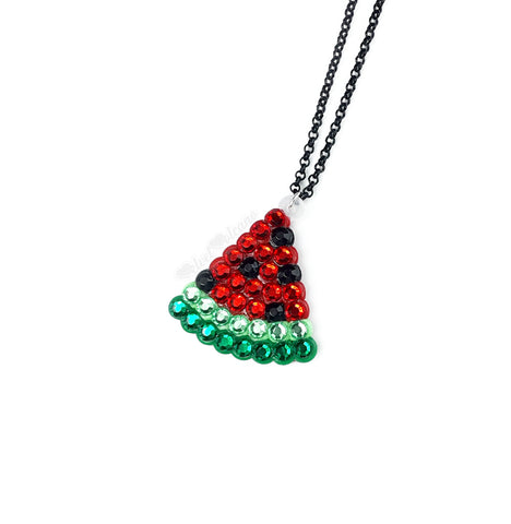 Watermelon Slice Necklace - Rhinestone Encrusted Custom Colour Fruit Necklace with choice of silver plated or black chain by VelvetVolcano