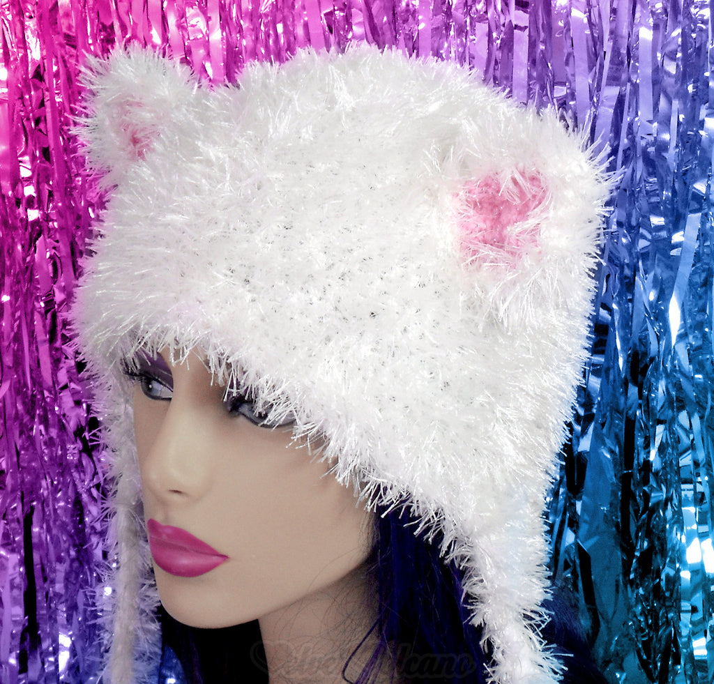 f79eb3a9c98 VelvetVolcano White   Baby Pink Fluffy Kitty Beanie Hat with Cat Ears