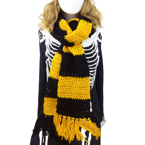 Chunky Crochet Yellow & Black Striped Long Tassel Scarf by VelvetVolcano