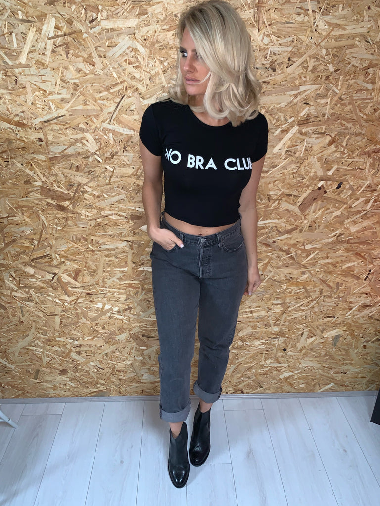 No Bra Club Slogan T Shirt