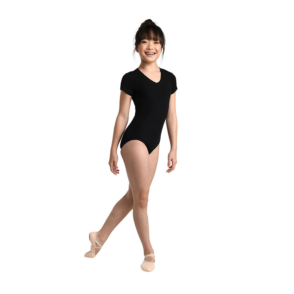 Danshuz Plush V-Neck Cap Sleeve Leotard
