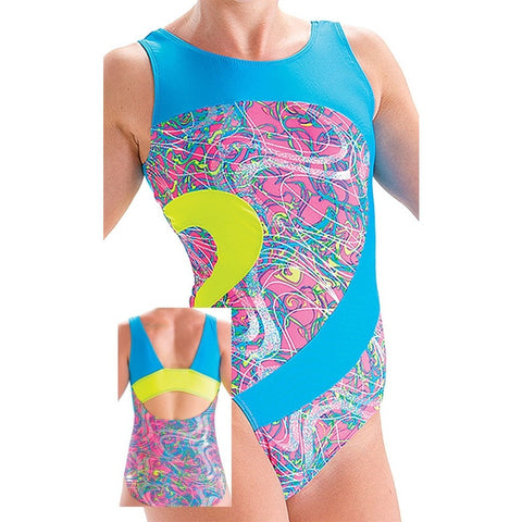 Coral Craze Eclipse Open Back Leotard