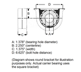 GMC Sonoma Carrier Bearing dimensions