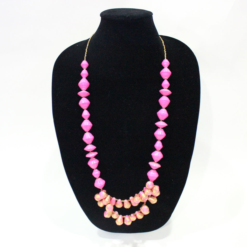 Pink/Gold Beaded Necklace