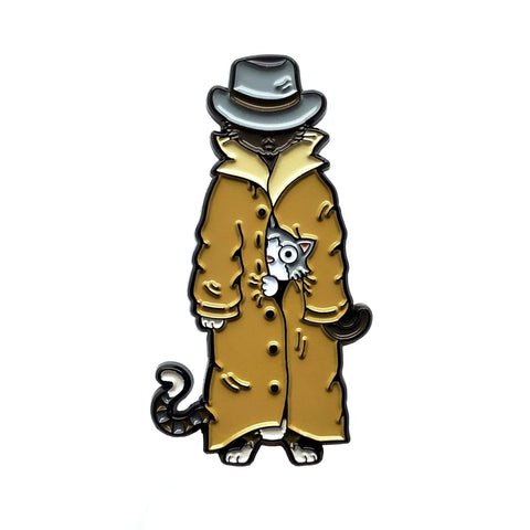 3 Cats in a Trench Coat Pin