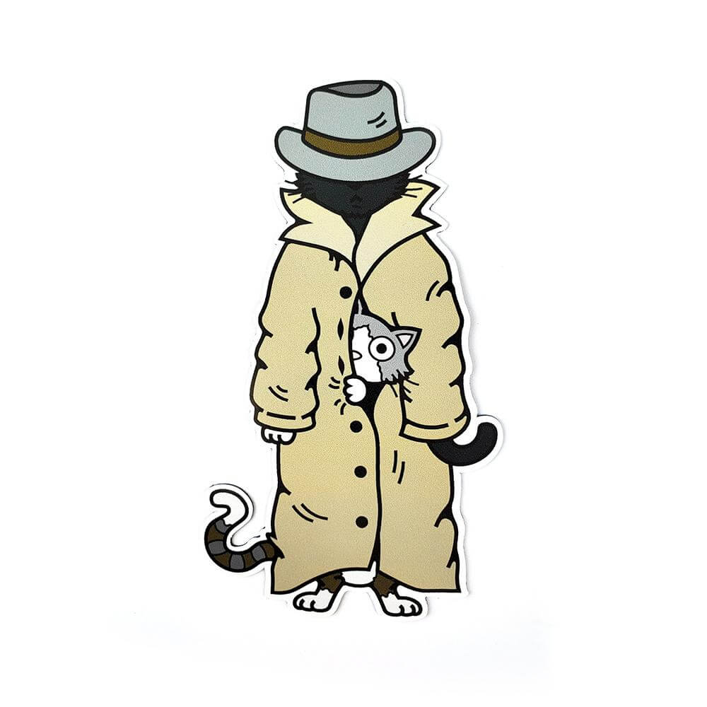 Trench Coat Cats Magnet - Kolorspun Enamel Pins