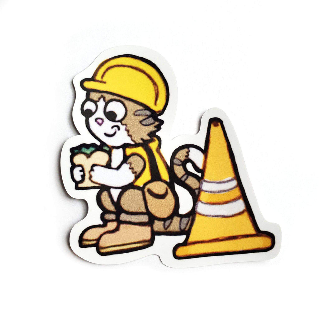 Construction Cat Sticker - Kolorspun Enamel Pins
