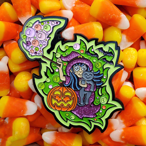 Glowing Witch Pin - Kolorspun Enamel Pins