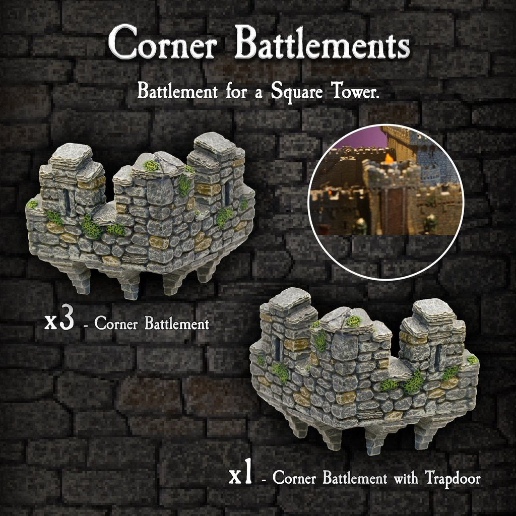 Corner Battlements - Painted
