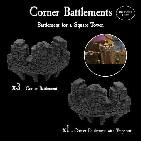 Corner Battlements - Unpainted